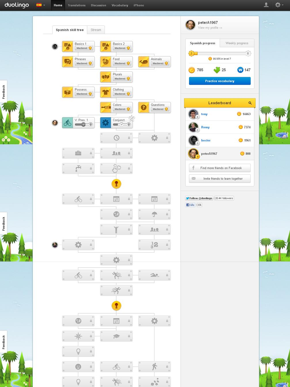 Duolingo status board